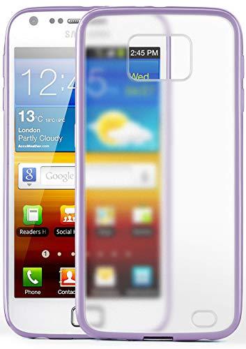 moex Samsung Galaxy S2 | Hülle Slim Transparent Lila Impact Back-Cover Dünn Schutzhülle Silikon Handy-Hülle für Samsung Galaxy S2 / S2 Plus SII Case TPU Tasche Matt - S2 Case Lila