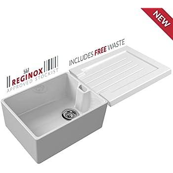 Reginox 60cm white belfast ceramic kitchen sink ceramic grooved reginox 60cm white belfast ceramic kitchen sink ceramic grooved sink drainer workwithnaturefo