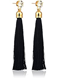 Tiaraz Gold Pearl Long Tassel Draping Extra Long Shoulder Duster Earrings for women and girls