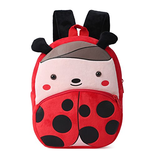 Nette Kleine Kleinkind Kinder Rucksack Plüsch Tier Cartoon Mini Kinder Tasche für Baby Mädchen Junge Alter 1-3 Jahre - Marienkäfer