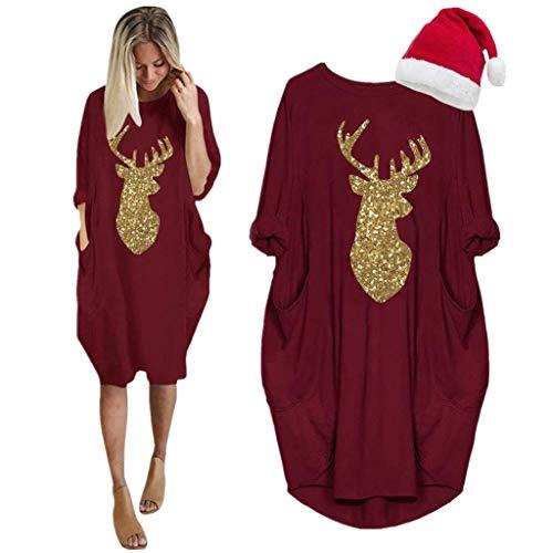 LOPILY Weihnachtskleid Damen Große Größen Pailletten Glitzer Weihnachten Jumperkleid mit Rentier Gedruckt Goldene Weihnachten Sweatkleider Damen Xmas Ausgestellte Minikleid Christmas (Rot, 36)