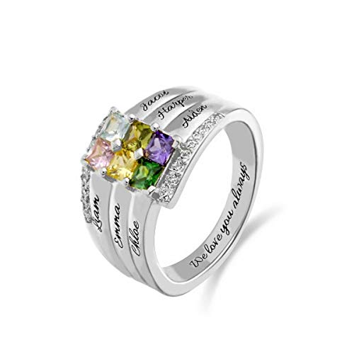 Personalisierte Geburtsstein Ring Gravur Damen Namen Ring Custom Schmuck für Frauen Mütter Ring mit 6 Namen and 1 Innerhalb des Textes
