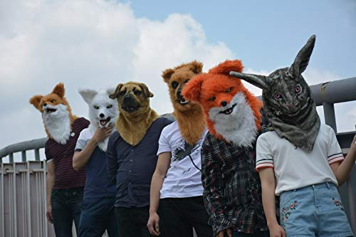 Handmade Kostüm - Realistische Tiermaske Faux Fur Adult Kostüm Maske Handmade Customized Simulation Kaninchen Maske Moving Mouth Mask (Color : Black)