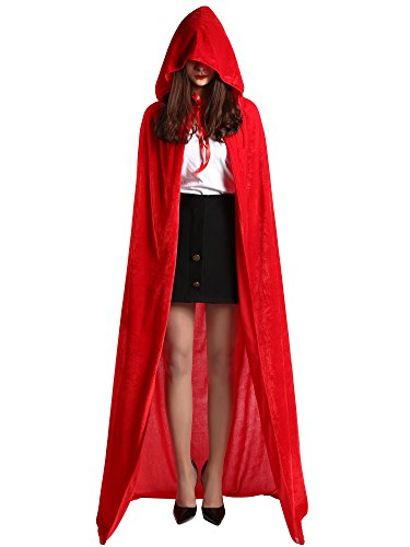 Satinior Unisex in Voller Länge Kapuzenmantel Adult Samt Cape Halloween Party Cosplay Kostüm Umhang (M Größe, Rot) (In Voller Länge Cape)
