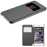 Wkae® iPhone 6S (4,7 pulgadas) de la cubierta - Nueva inteligente ventana de visualizaci¨®n del Funda del tir¨®n de la cubierta en folio para el iPhone 6(no caben iPhone 6 Plus 5.5 pulgadas, el iPhone 5 5S 5C 4 4S) (Negro)