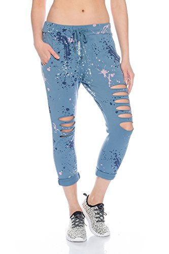 Fashionflash Damen knöchellange Hose zerissen (one Size, blau)