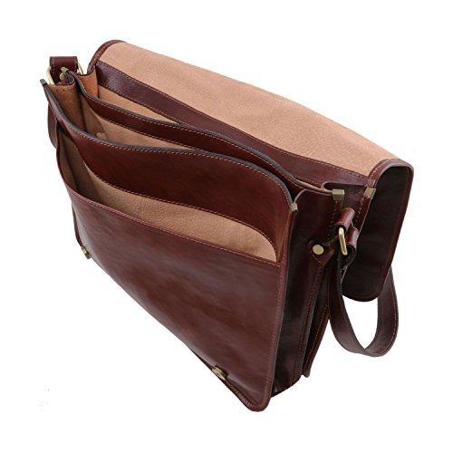 Tuscany Leather - TL Messenger - Borsa a tracolla 2 scomparti - Misura grande Marrone - TL141254/1 Testa di Moro
