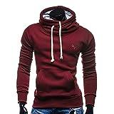 Wraluhen Mode Herren Einfarbig Herbst Winter Lässig mit Kapuze Tasche Pullover Outwear Tops Bluse