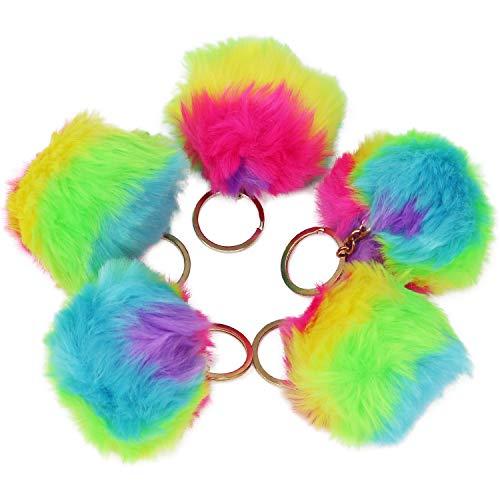 COM-FOUR® 5X Plüsch Taschenanhänger, regenbogenfarbener Pompon Anhänger mit Schlüsselring (05 Stück - Plüsch-Anhänger Regenbogenfarben)