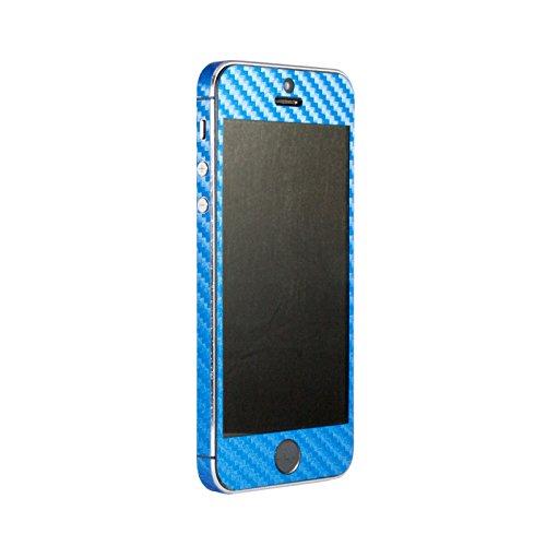 Rundum-Skin-Aufkleber für Apple iPhone 5, 5s, SE, 3D-Struktur, selbstklebendes Vinyl Blue Carbon Fiber (Carbon Apple-aufkleber Fiber)