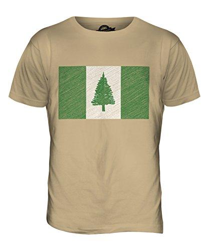 CandyMix Norfolk Island Bandiera Scarabocchio T-Shirt da Uomo Maglietta Caramello