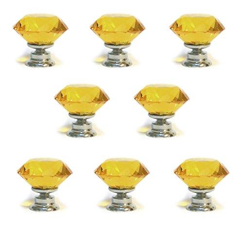 Pushka Türgriff Home Set von 8kleinen Bernstein facettierten Glas Kristall Diamant Geformt Schrank Tür knobd. 30mm x 8K9Klasse Griff Ornaments in Bernstein Ton. Mit Chrom Basis. Schraube passt zu Türen bis 21mm. Funkeln um Ihre Möbel hinzufügen. (Geformte Gläser Diamant)