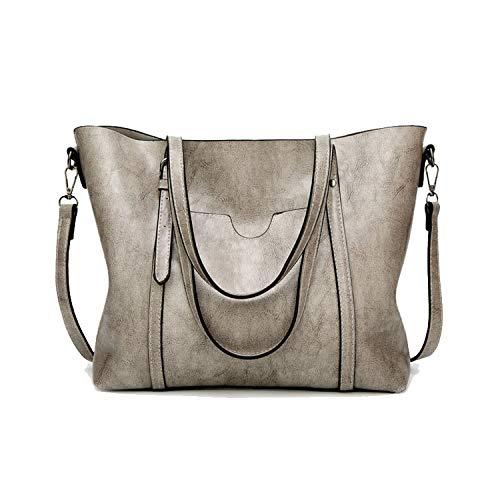 973b5e598d7e2 Women's Leather Handbags Shoulder Bag With Purse Pocket ies' messenger bag  Big,Grey,