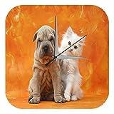 Reloj De Pared Pr·ctica Veterinaria Decorativo Marke Shar-Pei cachorro de gato Plexiglas Imprimido 25x25 cm