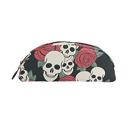 (Bleistifthalter, BENNIGIRY Day of The Dead Candy Skulls halbrund Federmäppchen, große Kapazität, für die Schule, Stifttasche, Doppelverwendung, Stifttasche, Make-up-Tasche für Studenten oder Frauen)