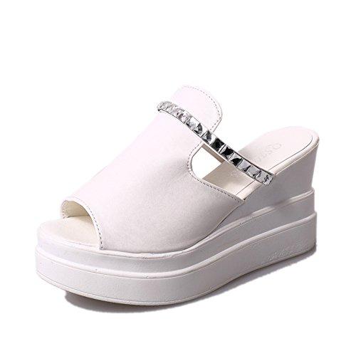 Ms. crosta spessa focaccina pantofole/Alto con sandali e ciabatte diamante/parola di resistenza impermeabile-B Lunghezza piede=22.3CM(8.8Inch)