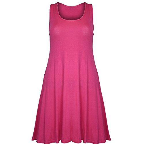 Pure Fashion Damen Ärmeloses Kleid Mehrfarbig Cerise - Girls Fashion Stylish Casual Jersey