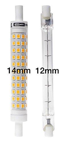 ECOBELLE® 1 x 9W R7s LED Leuchtmittel Lampe mit Gehäuse aus Keramik für bessere Kühlung, 950 Lumen, warm-weiß 3000K, 118 mm x 14 mm (Slim/Schmal Lampe!!!), 360°
