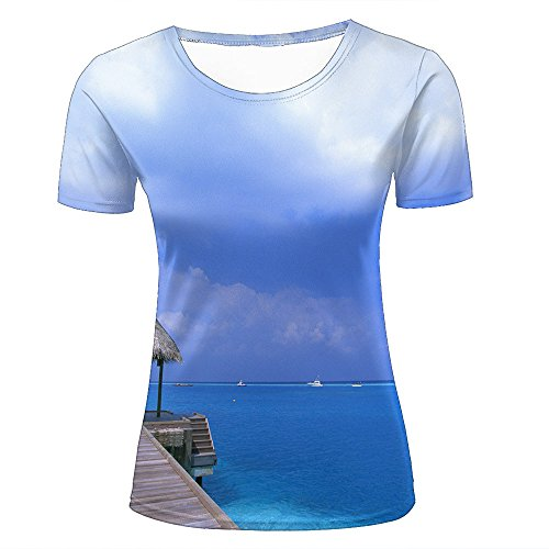 Damen Crewneck 3D Print T-Shirt Stunning Ocean Airship Dock Creative Graphic Short Sleeve Tee Top Shirts M