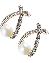 CamKpell 100% a estrenar Mujeres Dulce Elegante Cristal Rhinestone Perla simulada Bowknot Design Girls Ear Stud Earring Fashion Jewelry - Blanco