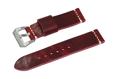 SWISS REIMAGINED Dickes italienisches Leder-Uhrenarmband Edelstahl-Schliesse - 22mm antikes rot