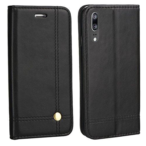MOX Edle Buch Klapp Tasche SCHWARZ Flip Book Case Schutz Hülle Etui EML-L29 für Huawei P20 Dual SIM