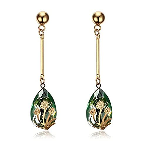 Vnox Women's Girl's Stainless Steel Long Dangle Flower Inlay Green Crystal Trendy Drop Earrings Gold