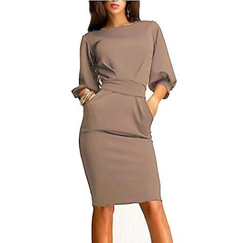 Vogholic Women's Sexy Middle Puff Sleeve Bodycon Tunic Knee Length Pencil Dress
