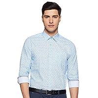 Diverse Men's Printed Slim fit Formal Shirt (DCMFF05SC09L03-772C_Blue 40)