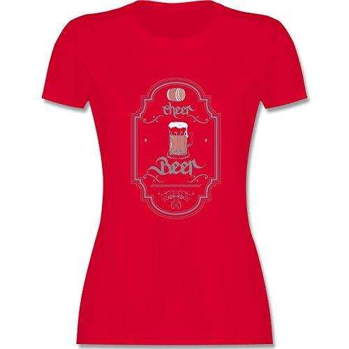 Statement Shirts - Cheer Beer - tailliertes Premium T-Shirt mit Rundhalsausschnitt für Damen Rot