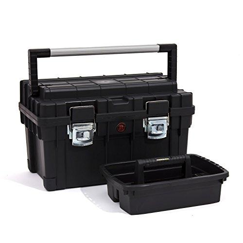 Preisvergleich Produktbild Patrol Group SKRT1HDCZAPG001 Werkzeugkoffer, Werkzeugkiste mit Aluminiummesslatte, Alu Griff Koffer, schwarz