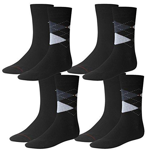 Tommy Hilfiger Herren Socken Check 4er Pack, Größe:43-46, Farbe:Dark Navy (322) - Tommy Hilfiger Check