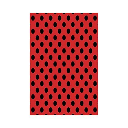 Liumiang Eco-Friendly Manual Custom Garden Flag Demonstration Flag Game Flag,Red and Black,Retro Vintage Pop Art Theme Old 60s 50s Rocker Inspired Bold Polka Dots Image,Scarletec d¨¦COR