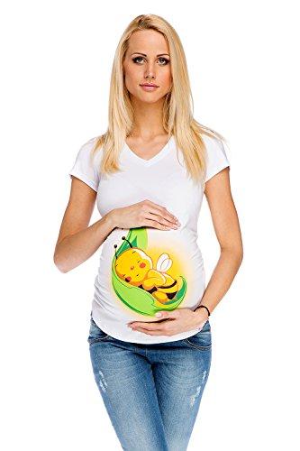 Umstands-Shirt Mutterschafts-Shirt Biene auf dem Blatt niedlich L (large) weiß Umstandsmode von MY TUMMY ®©™ (Mutterschaft Shirt)