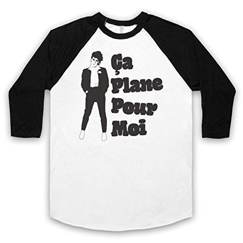 Inspiriert durch Plastic Bertrand Ca Plane Pour Moi Unofficial 3/4 Hulse Retro Baseball T-Shirt Weis & Schwarz