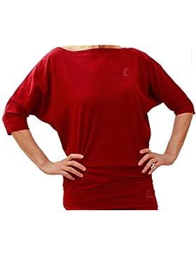 Esparto Sadaa Camiseta de manga media, de algodón orgánico, color Granate, tamaño medium