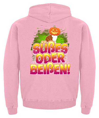 Halloween T-Shirt; süßes oder beißen - Kinder Hoodie -9/11 (134/146)-Baby Pink (Kinder Halloween Lädt)