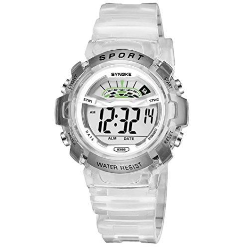 Gaddrt Imperméable à l'eau montre de sport LED Digital date montre-bracelet pour enfants garçons étudiant (Petit, Blanc)