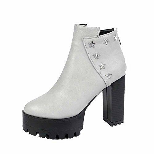 AllhqFashion Damen Hoher Absatz Niedrig-Spitze Metall Schnalle Reißverschluss Stiefel, Weiß, 40