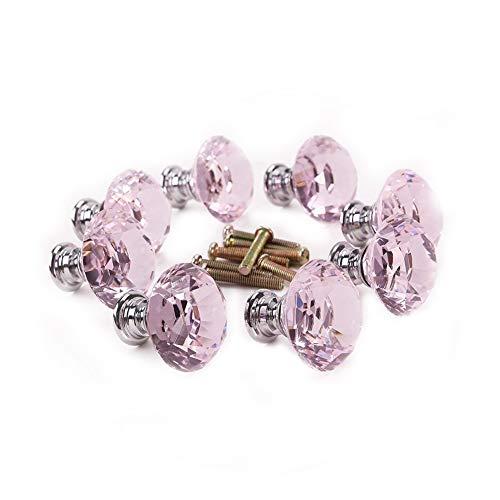 JER Transparent Aluminium Diamant-Form-Schublade Knöpfe, Glas, Kristall Schublade Knöpfe, Schublade zieht einen Griff 10pcs rosa. Home Dekoration -