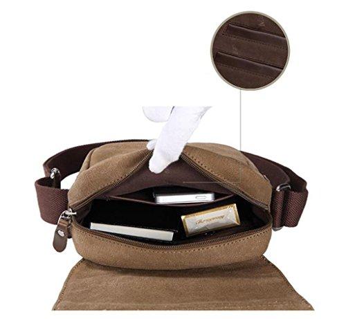DELLT-Männer neue Retro-Taschen lässige Schultertasche Messenger Bag Leinwand kleine Umhängetasche Flut Braun
