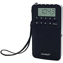 Sunstech RPDS81 - Radio portátil digital AM / FM con altavoz integrado y función sleep, color negro