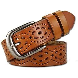 Lalafancy Cinturón de las mujeres de cuero genuino del zurriago de la vendimia Moda diseño floral hueco Cinturón de las señoras con hebilla de aleación para los pantalones vaqueros (Marrón)