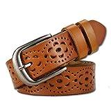Cintura donna vintage in vera pelle di vacchetta Cintura moda donna in velluto a fiori con fibbia in lega per jeans (Marrone)