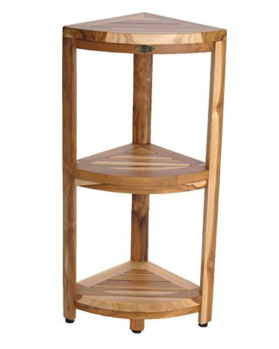 New Ecodecors Earthyteaktm Fully Assembled 3 Tier Compact Teak Corner Shower Shelf Shower Storage By Ecodecors