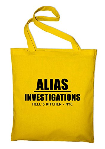 Alias Investigations Logo Jutebeutel, Beutel, Stoffbeutel, Baumwolltasche Gelb