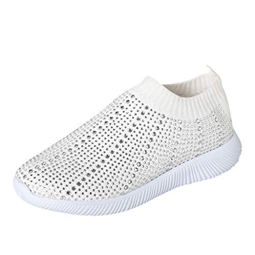 Laufschuhe für Damen/Dorical Frauen Turnschuhe Crystal Bling Sportschuhe Freizeit Atmungsaktiv Sneakers Casual Flache Sneakers Schuhe Sportschuhe Sneaker Ausverkauf(Weiß,41 EU)