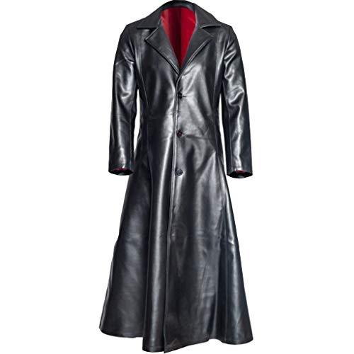 Makefortune2019 Neueste Herren Leder Trenchcoat für Männer Lange Jacke Vintage Distressed Ledermantel Plus Größe S-5XL Schwarz Dunkelblau Rot