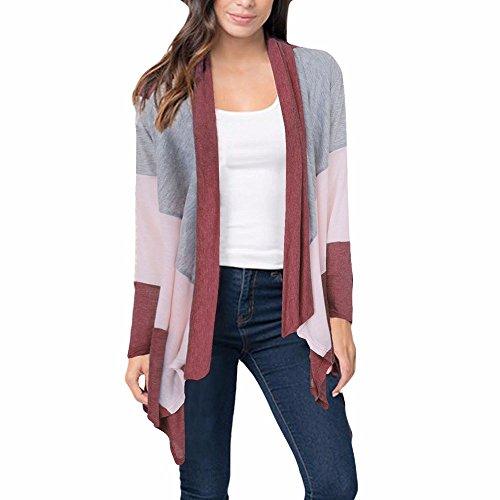 iHENGH Damen Kardigan Top,Ladies Warm Boho Patchwork Loose Shawl Kimono Cardigan Strickjacke Coat Vertuschen Bluse Parka Outwear Tops (EU-38/CN-M,Weinrot)