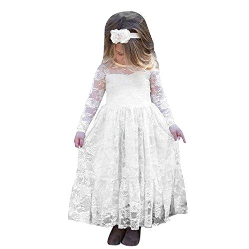 Party Dress Kindermädchen Kleinkind Kids Girls Langarm Princess Lace Bow Wedding Party Kleider Maxikleid Cocktailkleid (110, Weiß) (Gute Kostüm Ideen Für Jungen)